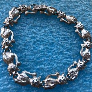 Jewelry - Very cute cat kitty kittens silver plated bracelet